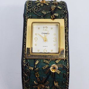 Green Cloth Embroidered Gramercy Watch Cuff Style